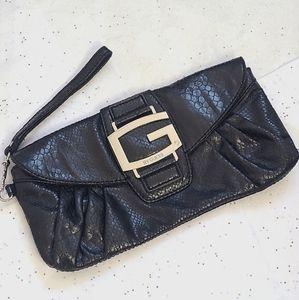 GUESS Snake Black Leather wristlet/wallet